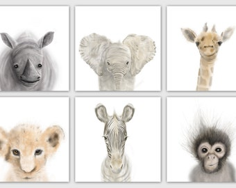 Safari Nursery Prints Set of 6, Nursery wall art