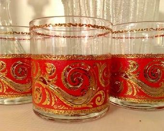 Set of 3 Signed Culver, Ltd. Red and 22kt Gold Lowball or Rocks Glasses