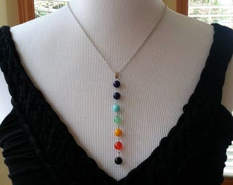 Seven Chakra Jewelry. Yoga necklace.  Meditation Necklace. Chakra pendant. Gift for her.