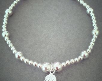 Sterling Silver Single Angel Wing Charm Bracelet
