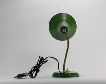 office decor, desk lamp, green desk lamp, Small mid century lamp, green vintage lighting, task light, industrial, mid century lighting