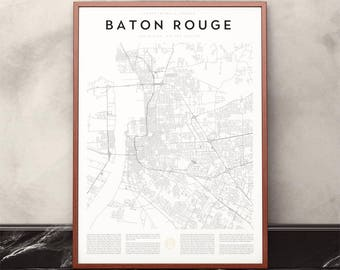 Baton Rouge Map Print