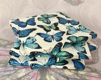 coasters, coaster set, butterfly coasters, home decor, blue, white, ceramic coasters, heat proof coasters, blue coasters, white coasters
