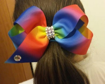 Jojo siwa inspired rainbow large hair bow 7 inch big hair bow girls ladies hair bow hair clip