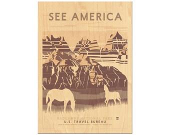 Wooden Postcard, Wood Postcard Sets, Badlands, South Dakota, National Park, See America, Wood Print, Wooden Wall Art