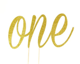 One cake topper - First birthday cake topper. One year Old. One Glitter topper. 1 cake topper.Gold glitter. Gold glitter cake topper.