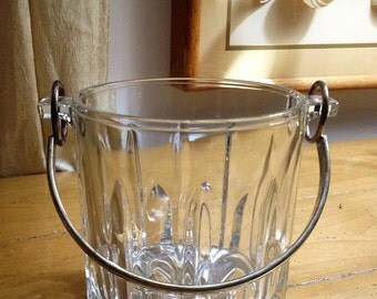 Vintage Italian Lead Crystal Ice Bucket With Silver Handle