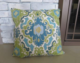 Turquoise Blue Green Ikat Pillow Cover Throw Pillow