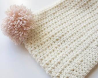 Crochet pom pom beanie