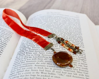 Ginger Orange Velvet Ribbon Bookmark with Brown Ceramic Bead and Assorted Seed Beads