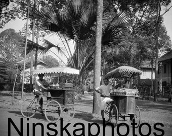 1920s Cambodia, Street Food in Phnom Penh, 'Travelling Buffets', Street Sellers, Cambodia by J. Dearden Holmes, 1920s antique photo reprint