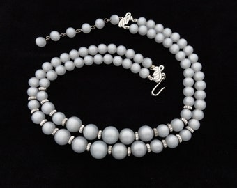 Gray Grey Moonglow Necklace Lucite Plastic Bead 2 Strand Vintage Retro