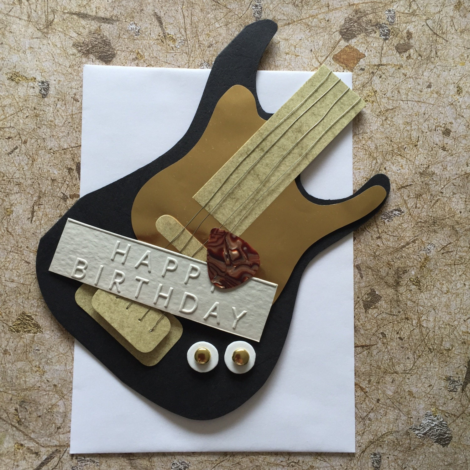 Handmade Guitar Birthday Card