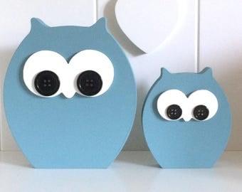 Owl Ornaments ~ Pair Of Owls ~ Owl Home Decor ~ Dark Duck Egg Blue Owls ~ Homemade Owls ~ Free Standing Owls
