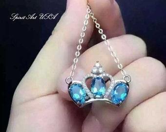 Topaz Necklace, Sterling Silver Crown Necklace, Genuine Swiss Blue Topaz Pendant, Luxury Cz Necklace, Yn014