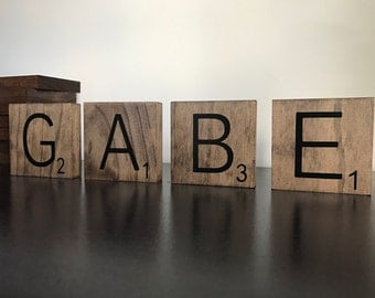 """3.5"""" Scrabble Wall Tiles- Home Decor- Personalized Letters- 3.5"""" x 3.5"""" Wood"""