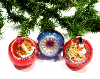 VINTAGE: 1950's - 3 Early Japanese Indent Diorama Mercury Glass Ornaments - Christmas Ornaments - Maid in Japan - (Tub-404-00006865)