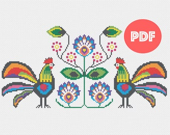 Polska - Polish Folk Art Inspired Cross Stitch - PDF Only - Instant Download