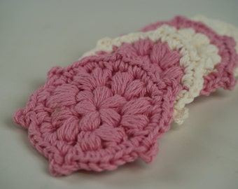 4 piece - Face Scrubbies (Tawashis)-Ecru & Rose