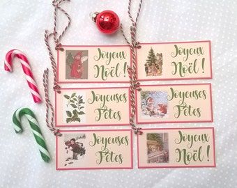 6 Christmas labels former, happy holidays and Merry Christmas