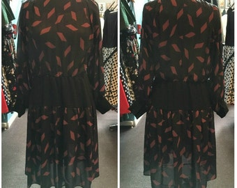 Vintage 1980s Sandi Gale Black with Purple Diamond Print Dress - Size 12