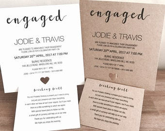 Personlised Engagement Invitations with Wishing Well & Envelope