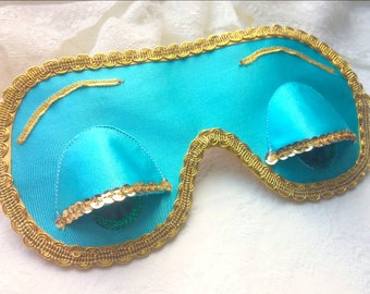 Holly Golightly turquoise sleep mask, Audrey Hepburn night cute mask,Breakfast at Tiffany's party favor, Satin eye pillow,Bachelorette party