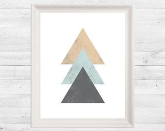 Triangle Print, Geometric, Blush, Blue, Grey, Wall Art, Abstract Print, Instant Download