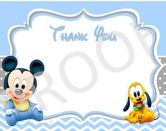 Baby Mickey Mouse Thank You Baby Shower Cards