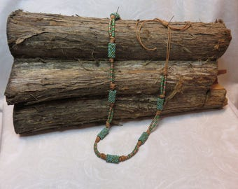 Hand Stitched Peote Beaded Tube Leather Knot Necklace