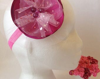 Large Pink Flower Headband