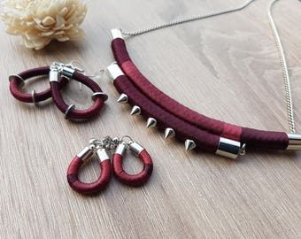 Tribal Necklace / Rope Necklace / Burgundy Necklace / Spikes Necklace / Edgy Necklace / Bold Necklace / Fiber Necklace / Bib Necklace / Chic