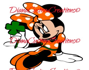 Orange St. Patricks Day Minnie Mouse Cricut Silhouette