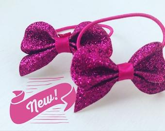 Girls Glitter Bow HAIR BOBBLE, small bow hair bobble, sparkle bow hair bobble, glitter bow ponytail, sparkly ponytail, prom hair bobble,