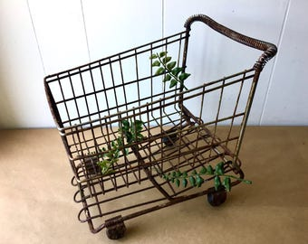 Rustic Doll Shopping Cart - Metal Grocery Cart - Industrial Decor - Kid Room
