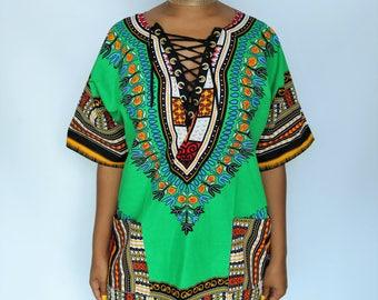 Green Lace Up Dashiki Tunic