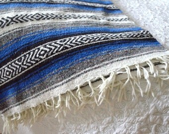 Mexican Throw Blanket -  Royal blue, Light Grey, Black & White Aztec Design