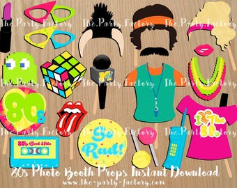 80's Themed Photo Booth Props Instant Downloads, Printables, Digital File, PDF