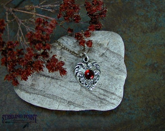 Garnet Heart Pendant Silver Heart Necklace with Garnet Gemstone Romantic Heart Pendant Silver and Garnet Heart Romantic Valentine's Day Gift
