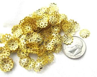 200 Gold Tone Filigree Bead Caps 9mm (s16d1)