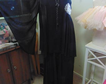 Vintage 1970s One Shoulder Tiered Chiffon Maxi Dress sz 10 Boho Beaded
