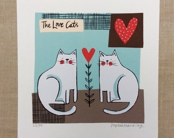 The Love Cats screenprint