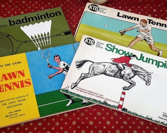 Vintage sport books, 'know the game' know how book, tennis, show jumping, badminton. EP group publishing. 1960's to 70's
