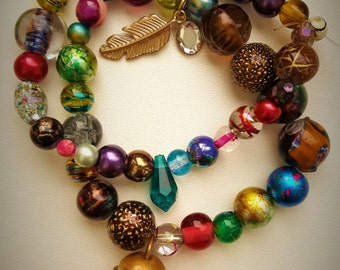 Eclectic mix and match elasticated bracelets