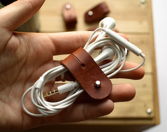 leather cable organizer cord organizer headphones organizer