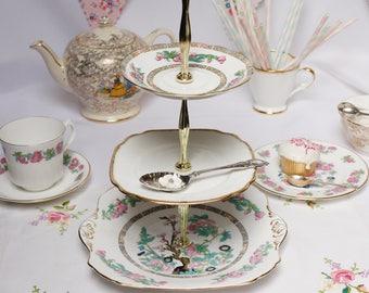 Indian Tree 3 tier dessert stand/  cake stand / dessert tray:  vintage English bone china tiered cupcake stand