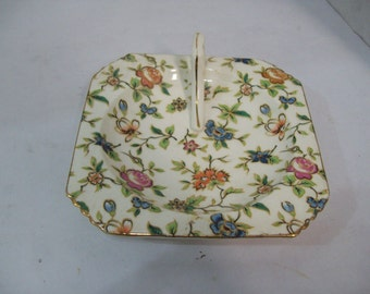 Vintage Handpainted Floral Ashtray Japan with Carrying Handle Japanese
