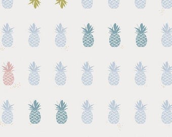 NEW Art Gallery Fabric Amy Sinibaldi Charleston Ananas Powder Off-White Blue - Pineapple - Hawaiian Southern Preppy Fabric by the Yard