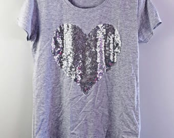 Shine like a diamond tee, women's tshirt - grey- silver sequins heart- gift for her - tshirt by Monikatees