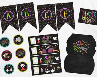 Magic Show Party Pack, Magic Show Birthday Favors, Matching Party Pack, Magic Show Birthday Printables,